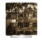 Mcleod Plantation Home In Black And White Shower Curtain