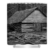 Home In The Woods Bw Shower Curtain