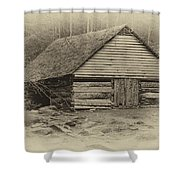 Home In The Woods Sepia Shower Curtain