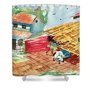 A Back Yard With A Cow Shade And A Cow And A Calf  Shower Curtain