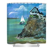 Home Overlooking The Sea Shower Curtain