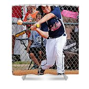 Home Run In The Making Shower Curtain