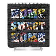 Home Sweet Home Rustic Vintage License Plate Lettering Sign Art Shower Curtain