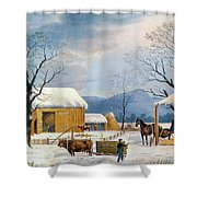 Home To Thanksgiving, 1867 Shower Curtain