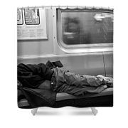 Homeless In Motion In Black And White Shower Curtain