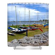 Homemade Outriggers Canoes On The Indian River Lagoon In Florida Shower Curtain