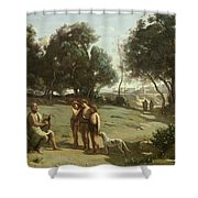 Homer And The Shepherds In A Landscape Shower Curtain