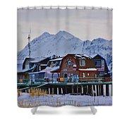 Homer Spit Board Walk Winter Moments Shower Curtain