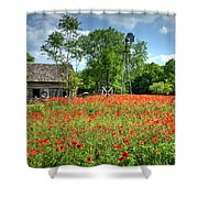 Homestead In The Poppies Shower Curtain
