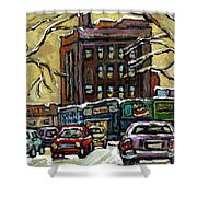 Buy Original Paintings Montreal Petits Formats A Vendre Scenes Traffic On Rue Van Horne Shower Curtain