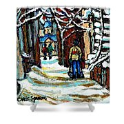 Buy Original Paintings Montreal Petits Formats A Vendre Scenes Man Shovelling Snow Winter Stairs Shower Curtain