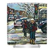 Rue Cote St Catherine Peintures Petit Format A Vendre Scenes De Ville Montreal Street Scenes  Shower Curtain