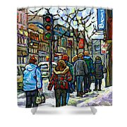 Promenade Au Centre Ville Rue Ste Catherine Montreal Winter Street Scene Small Paintings  For Sale Shower Curtain
