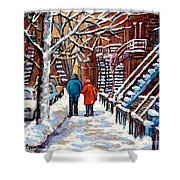 Promenade En Hiver Winter Walk Scenes D'hiver Montreal Street Scene In Winter Shower Curtain