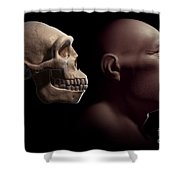 Homo Erectus With Skull Shower Curtain