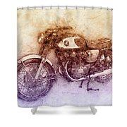Honda Cb77 - Honda Motorcycles 2 - Motorcycle Poster - Automotive Art Shower Curtain