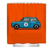 Honda N600 Blue Kei Race Car Shower Curtain