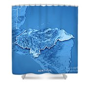 Honduras Country 3d Render Topographic Map Blue Border Shower Curtain