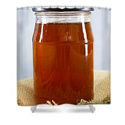 Honey In Clear Glass Jar Shower Curtain