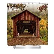 Honey Run Covered Bridge In Autumn Shower Curtain