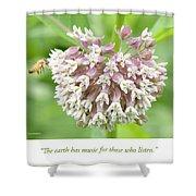 Honeybee And Milkweed Flowers Shower Curtain