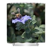 Honeybee On Blue Daze Shower Curtain