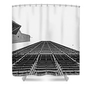 Hong Kong Building Black And White Shower Curtain
