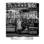 Hong Kong Foodmarket In Black And White, China Shower Curtain