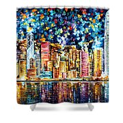 Hong Kong - Palette Knife Oil Painting On Canvas By Leonid Afremov Shower Curtain