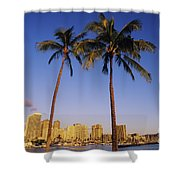 Honolulu And Palms Shower Curtain