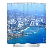 Honolulu And Waikiki From The Air Shower Curtain