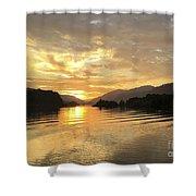 Hood River Golden Sunset Shower Curtain