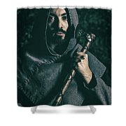Hooded Man With Axe Shower Curtain