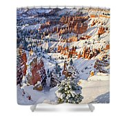 Hoodoos And Fir Tree In Winter Bryce Canyon Np Utah Shower Curtain