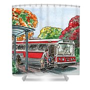 Hop On A Bus Shower Curtain