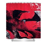 Hope - Red Black And White Abstract Art Painting Shower Curtain