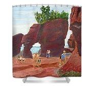 Hopewell Rocks2 Shower Curtain by Linda Feinberg