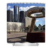 Horace Dodge Fountain Hart Plaza Detroit  Shower Curtain