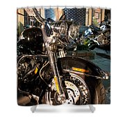 Horizontal Front View Of Fat Cruiser Motorcycle With Chrome Fork Shower Curtain