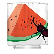 Horn Beetle Is Eating A Piece Of Red Watermelon Shower Curtain