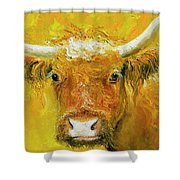 Horned Cow Painting Shower Curtain