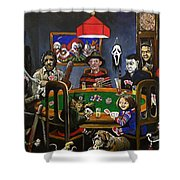 Horror Card Game Shower Curtain by Tom Carlton