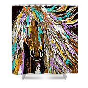 Horse Abstract Brown And Blue Shower Curtain
