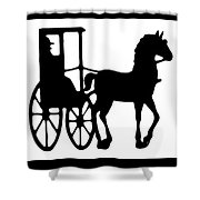 Horse And Buggy Vector Shower Curtain