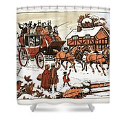 Horse And Carriage In The Snow Shower Curtain