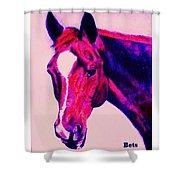 Horse Art Horse Portrait Maduro Deep Pink Shower Curtain