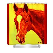 Horse Art Horse Portrait Maduro Deep Yellow And Orange Shower Curtain