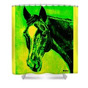 Horse Art Horse Portrait Maduro Green Black And Yellow Shower Curtain