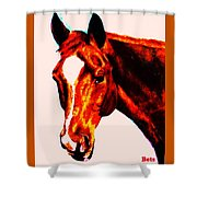 Horse Art Horse Portrait Maduro Red With Yellow Highlights Shower Curtain