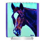 Horse Art Horse Portrait Maduro Striking Purple Shower Curtain